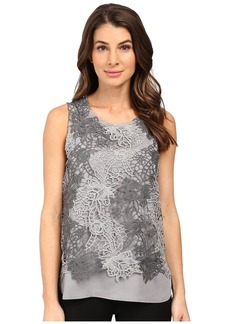 Calvin Klein Sleeveless Heather Lace Twofer Top