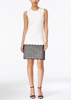 Calvin Klein Sleeveless Lace-Trim Shift Dress