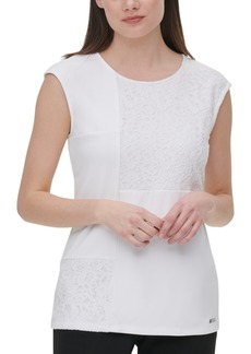 Calvin Klein Sleeveless Lace-Trim Top