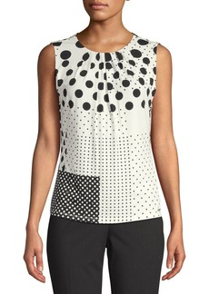 Calvin Klein Sleeveless Mixed Polka-Dot Blouse