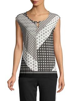 Calvin Klein Sleeveless Mixed-Print Blouse