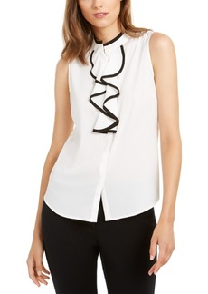 Calvin Klein Sleeveless Piped-Ruffle Button-Up Blouse