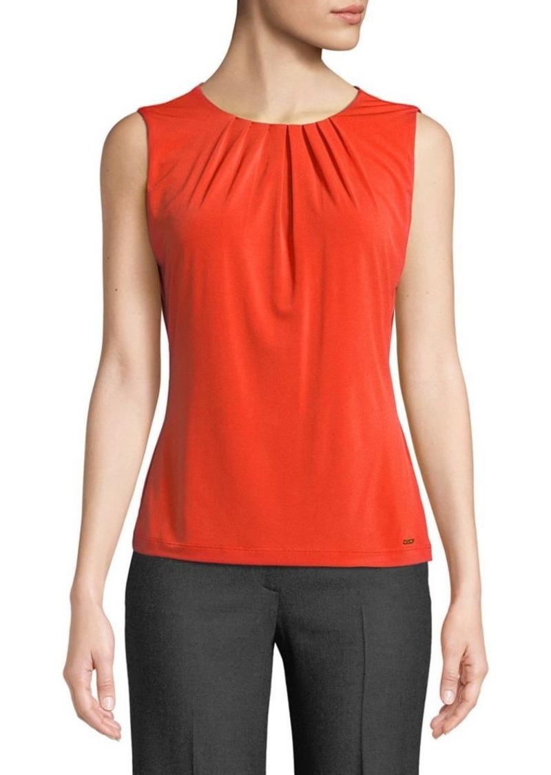 Calvin Klein Sleeveless Pleated Neckline Blouse