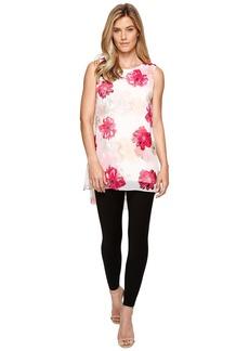 Calvin Klein Sleeveless Print Chiffon Overlay Blouse