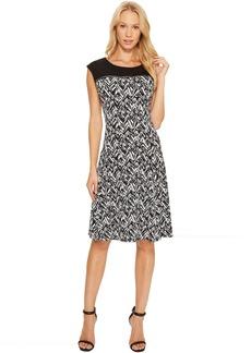 Calvin Klein Sleeveless Print Dress with Zipper Yoke