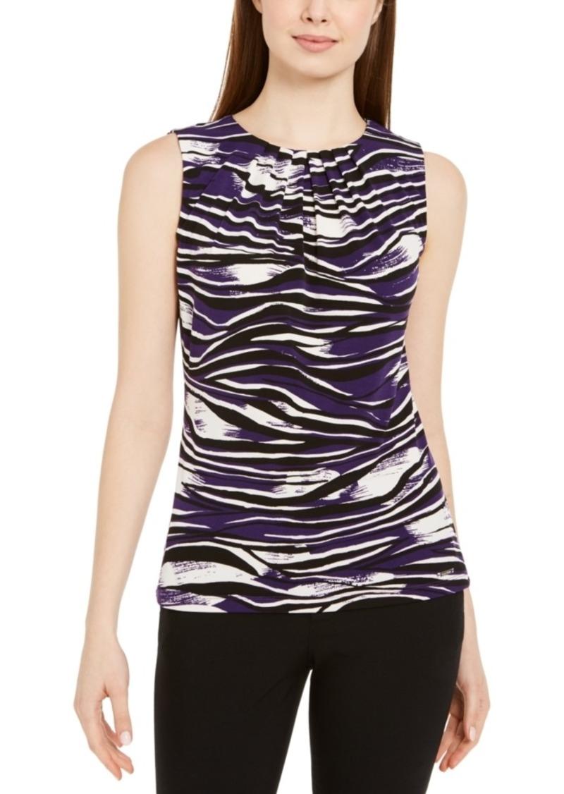 Calvin Klein Sleeveless Printed Pleat-Neck Top