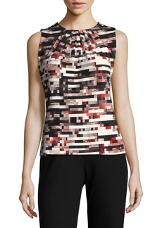 Calvin Klein Sleeveless Printed Pleated Blouse