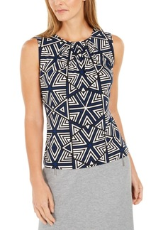 Calvin Klein Sleeveless Printed Pleated-Neck Top