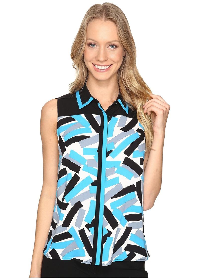 Calvin Klein Sleeveless Printed Top with Collar