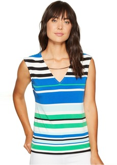 Calvin Klein Sleeveless Printed Top with Curved Hardware