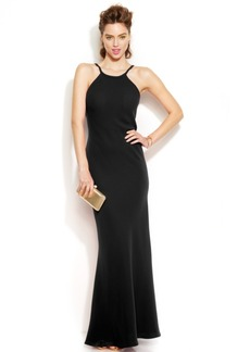 Calvin Klein Sleeveless Scoop-Back Halter Gown