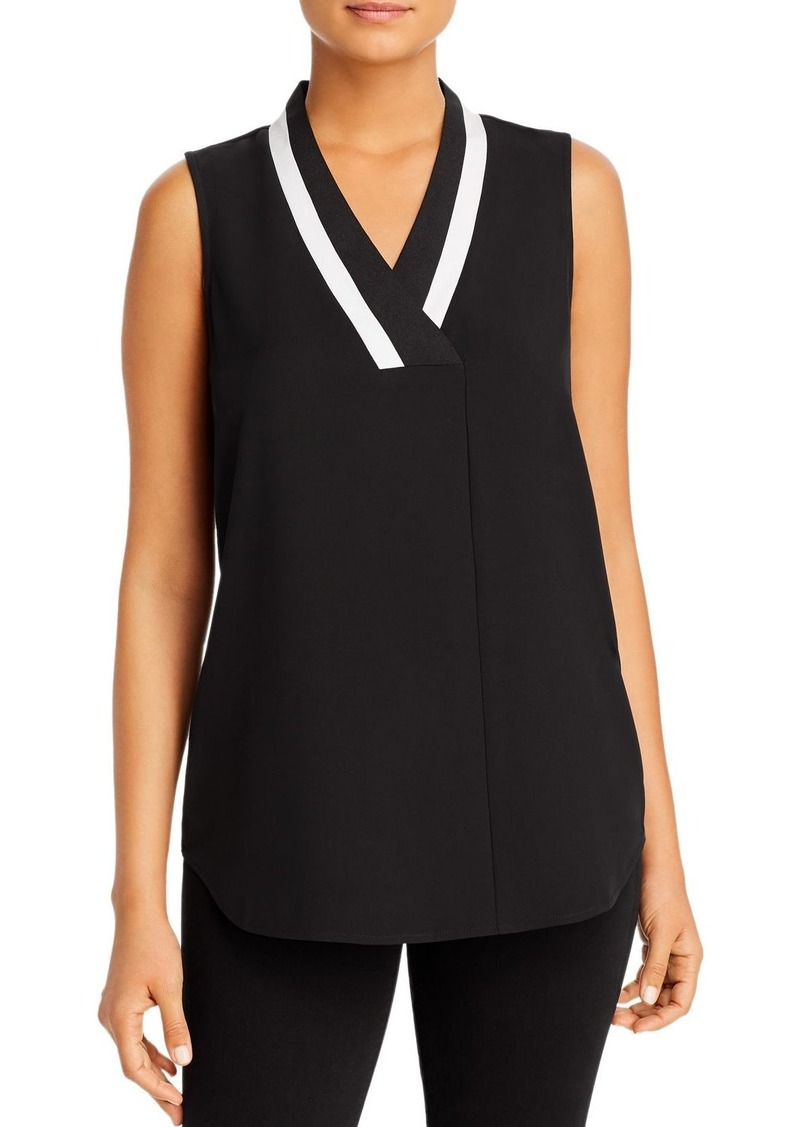 Calvin Klein Sleeveless Stripe-Neck Blouse