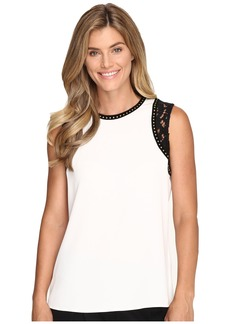 Calvin Klein Sleeveless Top w/ Lace and Studs