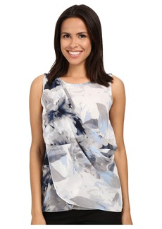 Calvin Klein Sleeveless Top w/ Printed Chiffon