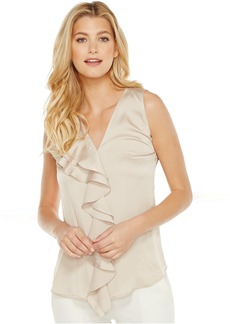 Calvin Klein Sleeveless Top with Ruffle Front Blouse