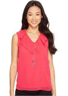 Calvin Klein Sleeveless V-Neck Ruffle Collar Top