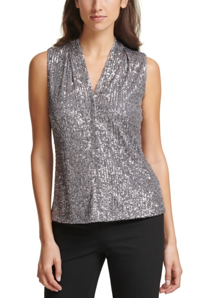 Calvin Klein Sleeveless V-Neck Sequin Top