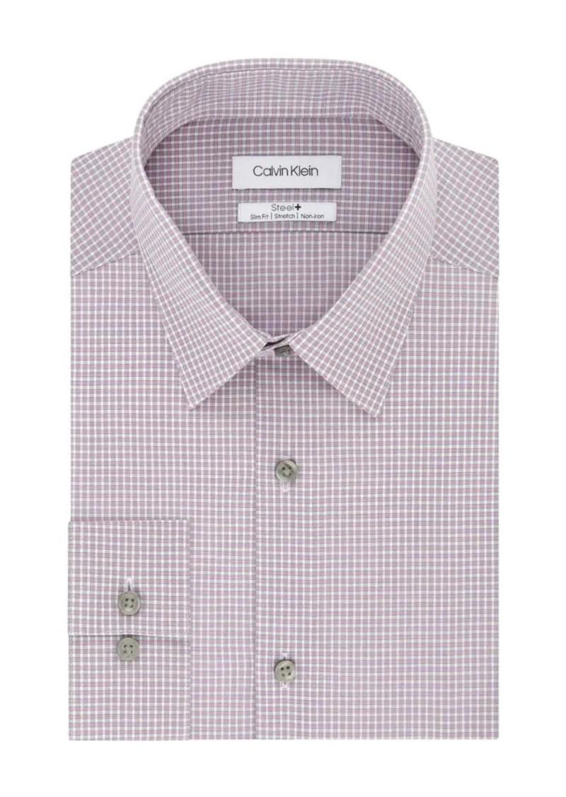 Calvin Klein Slim-Fit Checked Stretch Dress Shirt