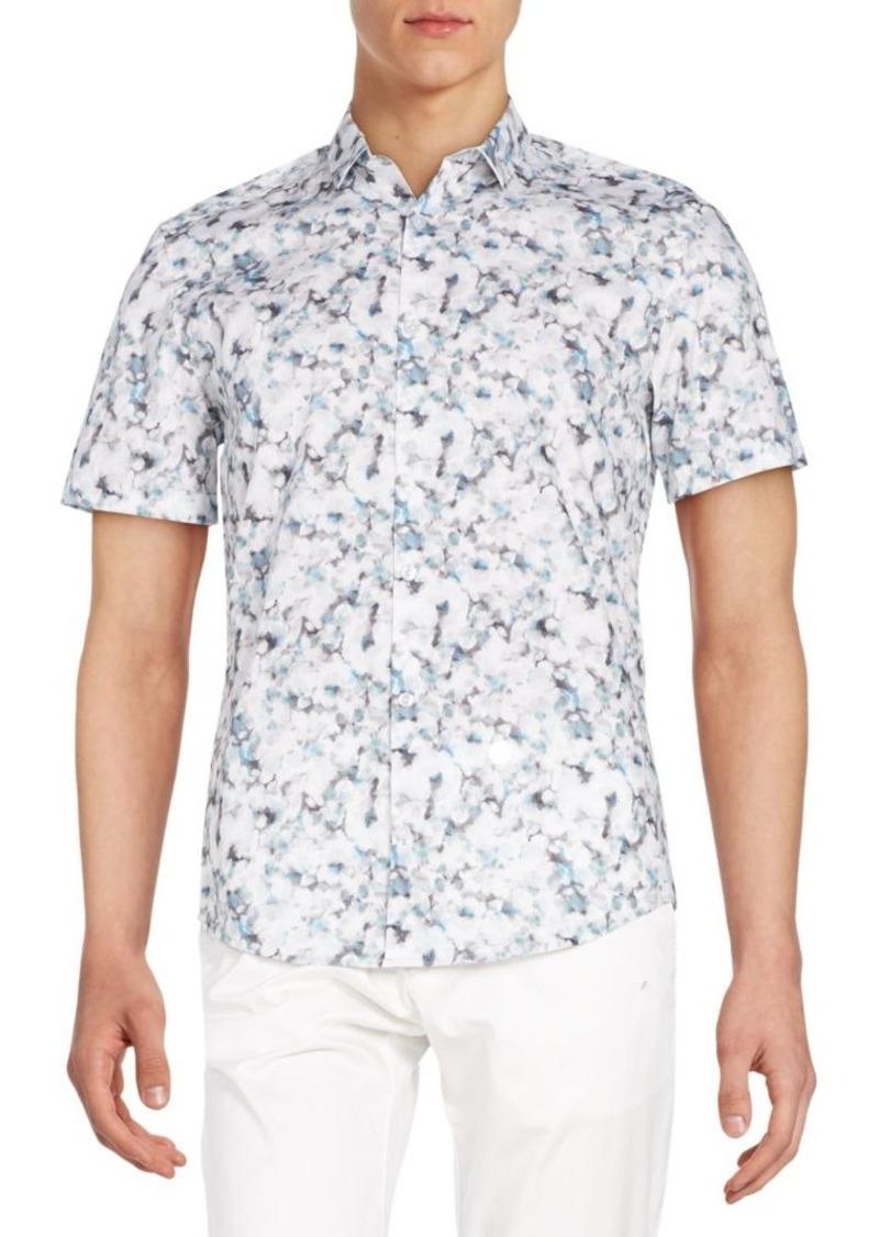 Calvin Klein Slim-Fit Floral-Print Cotton Sportshirt