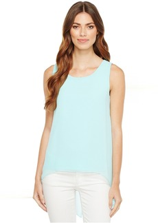 Calvin Klein Slit Back Top with Chiffon Overlay