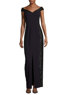 Calvin Klein Slit-Detailed Embellished Dress