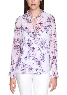 Calvin Klein Plus Size Floral-Print Smocked Top