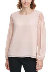 Calvin Klein Smocked-Sleeve Top
