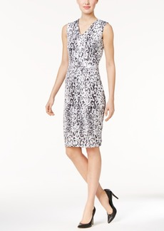Calvin Klein Snakeskin-Print Scuba Sheath Dress