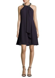 Calvin Klein Solid Beaded Halterneck Dress