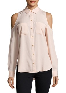 Calvin Klein Solid Cold-Shoulder Casual Button-Down Shirt