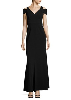 Calvin Klein Solid Cold-Shoulder Gown