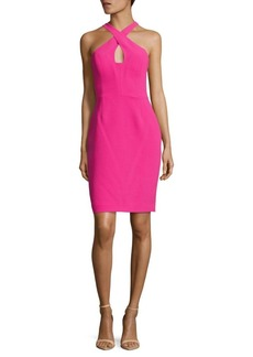Calvin Klein Solid Crisscross-Neck Sheath Dress