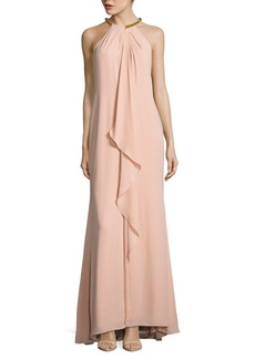 Calvin Klein Solid Draped Haltergown