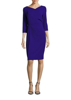 Calvin Klein Solid Fitted Three-Quarter Sleeve Dress