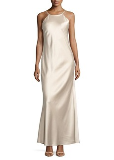 Calvin Klein Solid Halter Gown