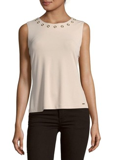 Calvin Klein Solid Jewelneck Tank Top