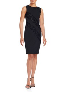 Calvin Klein Solid Lace Panel Dress