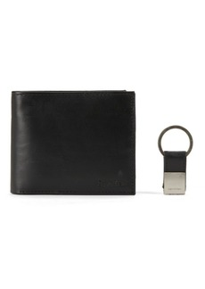 Calvin Klein Solid Leather Pass Case with Coin Pocket & Key Fob