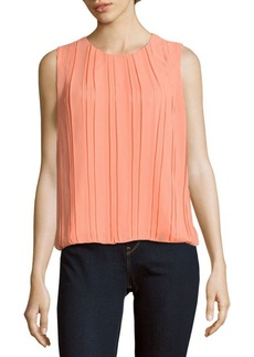 Calvin Klein Solid Pleated Blouse