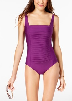 Calvin Klein Solid Pleated One-Piece Swimsuit, Created for Macy's Style Women's Swimsuit