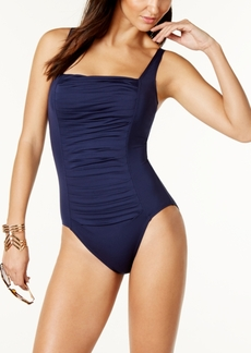 Calvin Klein Solid Pleated One-Piece Swimsuit, Created for Macy's Women's Swimsuit