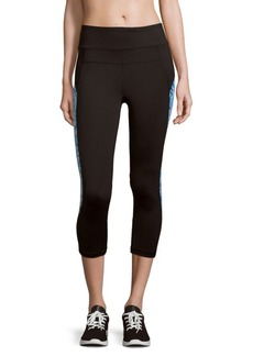 Calvin Klein Solid Printed-Panel Active Leggings
