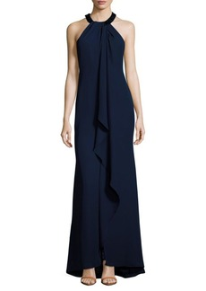Calvin Klein Solid Ruffle-Front Gown