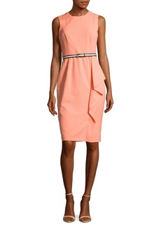 Calvin Klein Solid Ruffled Sheath Dress