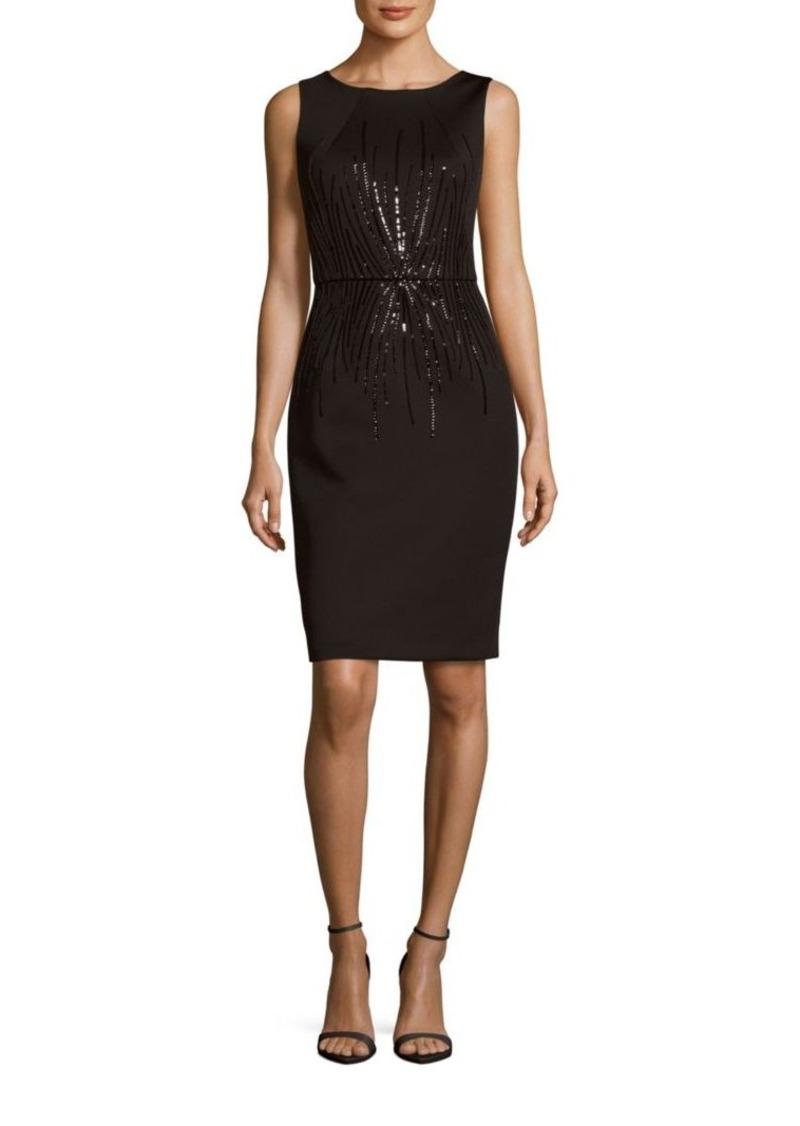 Calvin Klein Solid Sequin Embellished Sheath Dress