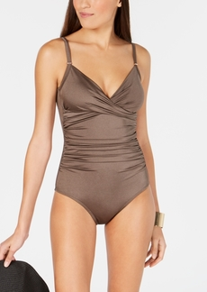 Calvin Klein Solid Twist-Front Tummy-Control One-Piece Swimsuit, Created For Macy's Women's Swimsuit