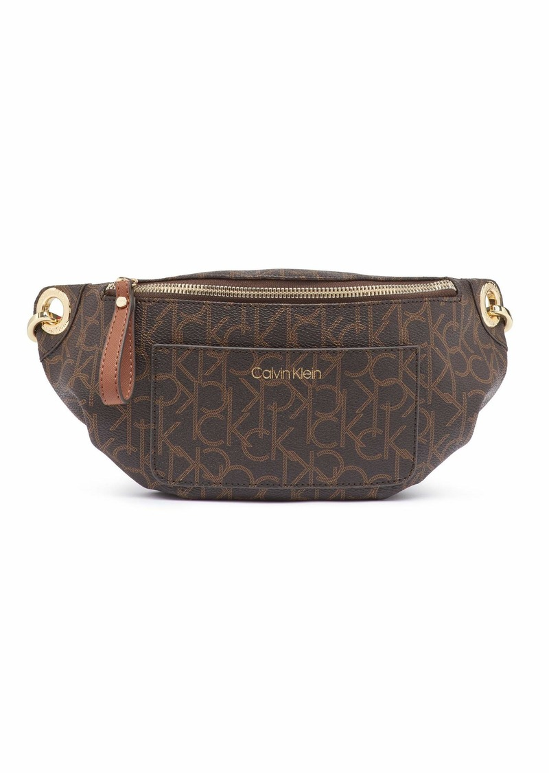 Calvin Klein Sonoma Signature Monogram Belt Bag brown/khaki/luggage saffiano