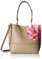 Calvin Klein Sonoma Signature North/South Tote textured khaki/brown/luggage floral