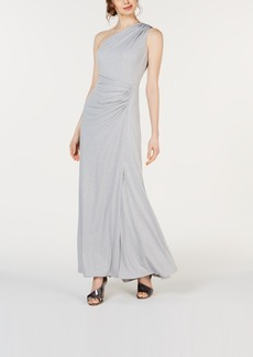 Calvin Klein Sparkle-Knit One-Shoulder Gown
