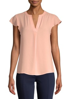 Split Neck Cap-Sleeve Top